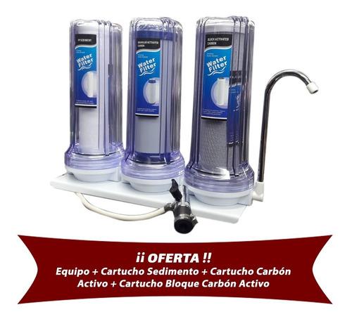 filtro triple s/mesada + 3 cartuchos revendedores x30 659062