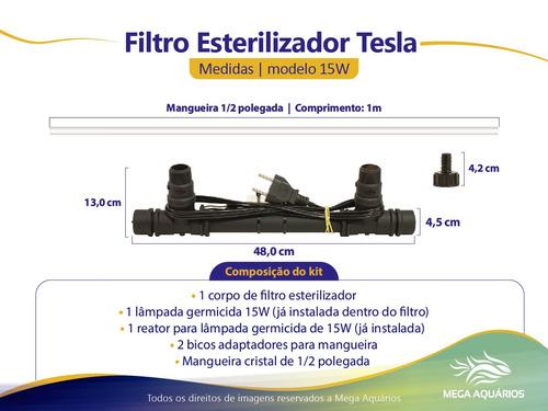 filtro uv c 15w 220v aquários lagos tanques c/ lampada tesla