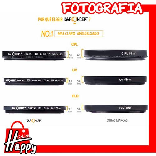filtro uv k&f concept 67mm canon/nikon/pentax/sony