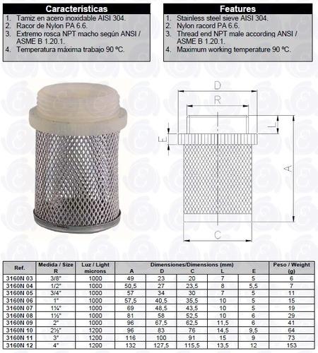 filtro válvula de retención inox. 3 art. 3160