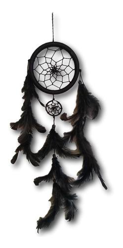 filtro/apanhador  dos sonhos com penas preto ref: 0103