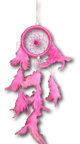 filtro/apanhador  dos sonhos com penas rosa ref: 0105