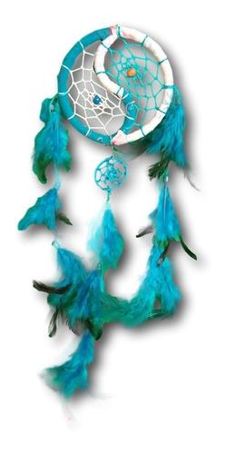 filtro/apanhador  dos sonhos com penas turquesa ref: 0293