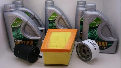 filtros clio logan 1.6 16v + óleo 10w40 api sm