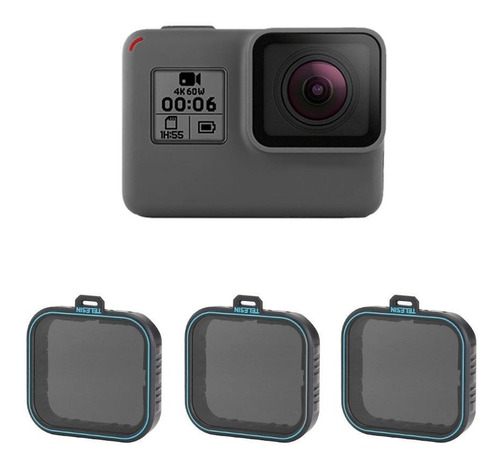 filtros nd4 nd8 nd16 gopro hero 5 black 6 7 black telesin