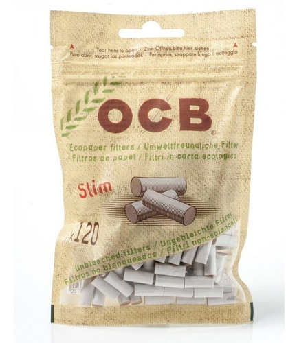 filtros ocb slim eco x120 biodegradable armar cigarrillos