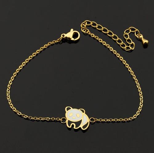 fina pulsera con dije oso panda dama mujer acero inoxidable