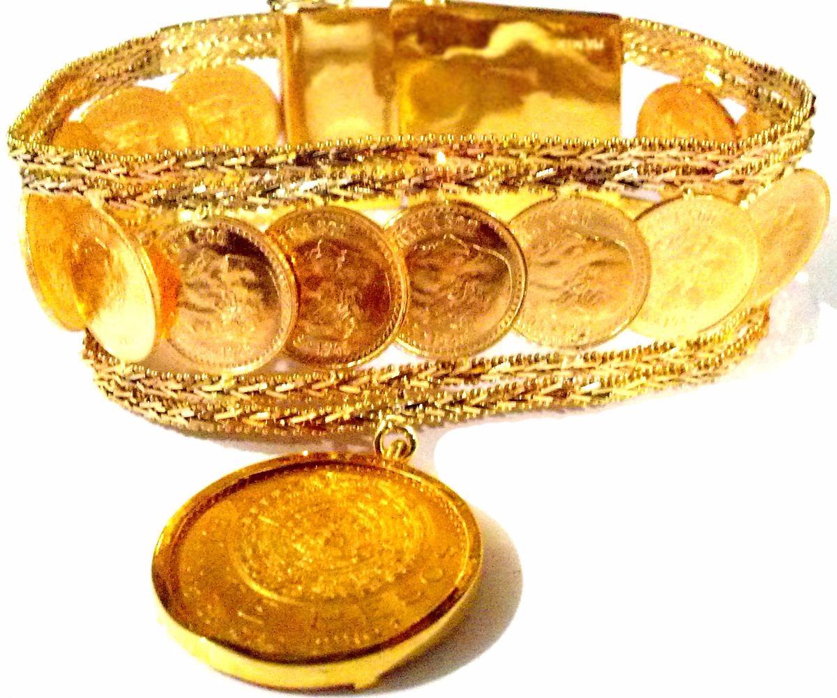 5285e19c7e94 Fina Pulsera Oro Macizo 14k   22k Peso 70grs. Azteca De Oro ...