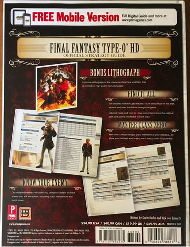 final fantasy type 0 hd official strategy guide prima games