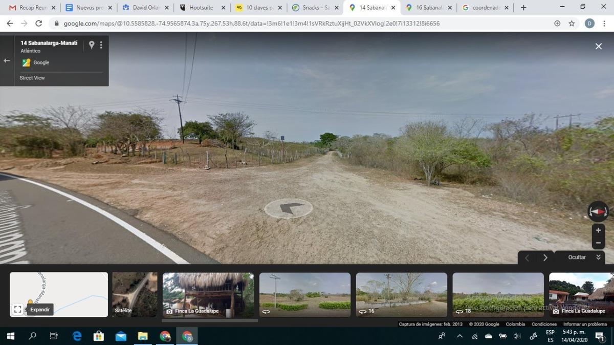 finca sabanalarga,atlantico 3.7 hectareas, 2 casas, luz prop