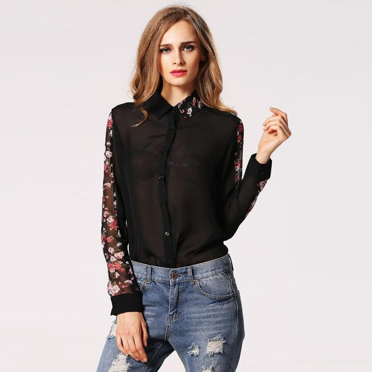 72efe0717 Finejo Camisa Camiseta Mujer Solapa De Gasa Delgada Camisera ...