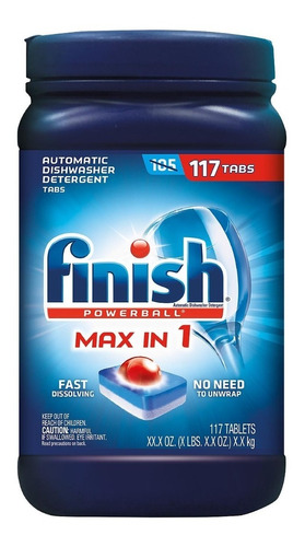 finish max in onepower detergente  lavavajillas 117pastillas
