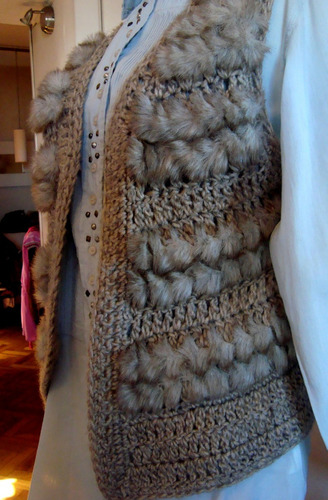 finísimo chaleco rapsodia crochet tejido con piel sintética