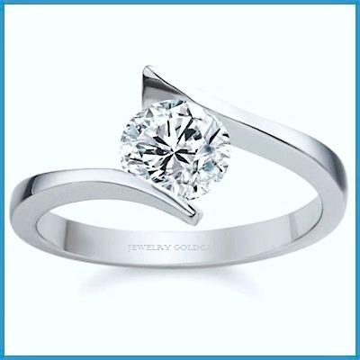 fino anillo de compromiso en plata oro blanco envio gratis