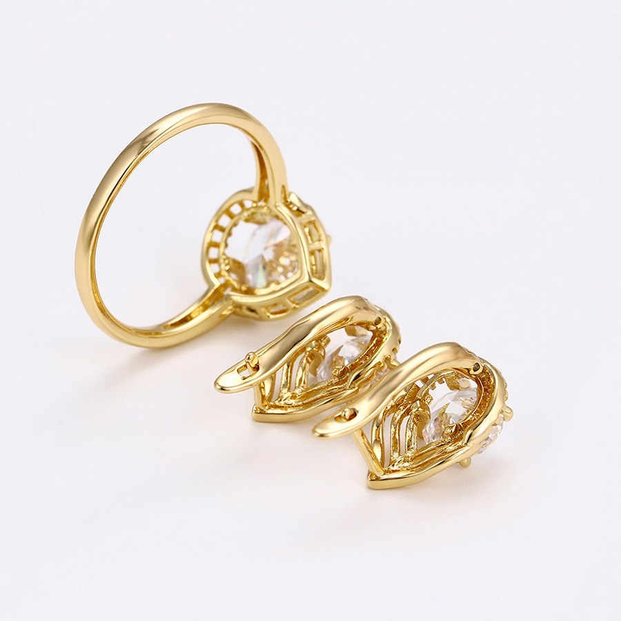 0b2b16988145 fino anillo y aretes de oro 14k lam con swarovski +estuche. Cargando zoom.