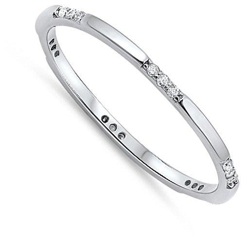 fino apilable transparente cz anillo de banda de plata de