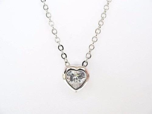 2c442aaf0c48 Fino Collar Corazón Amor Joya Plata 925 Y Zirconia Regalo