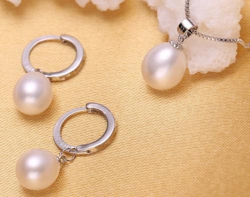 fino collar y aretes, perlas naturales auténticas aaa regalo