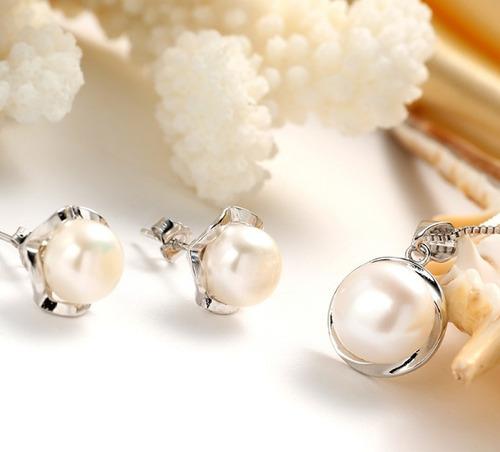 fino collar y aretes perlas naturales auténticas aaa regalo
