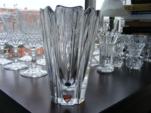 fino florero de grueso cristal orrefors sweden, decoración