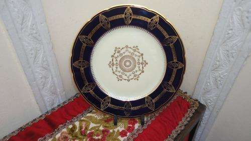 fino plato antiguo aleman cobalto y oro para decorar vealo