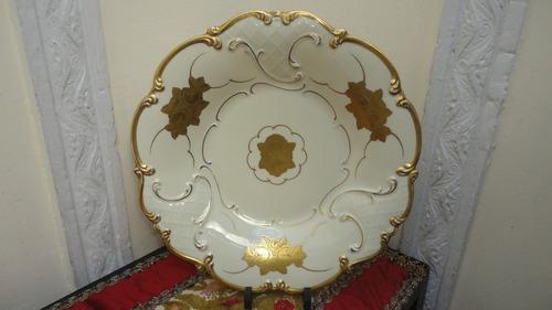 fino plato porcelana alemana antiguo marfil con oro vealo