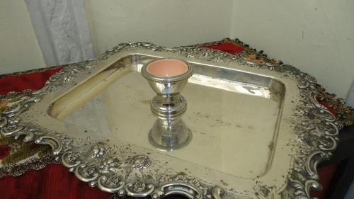 fino posa huevo antiguo ingles bañado en plata vealo