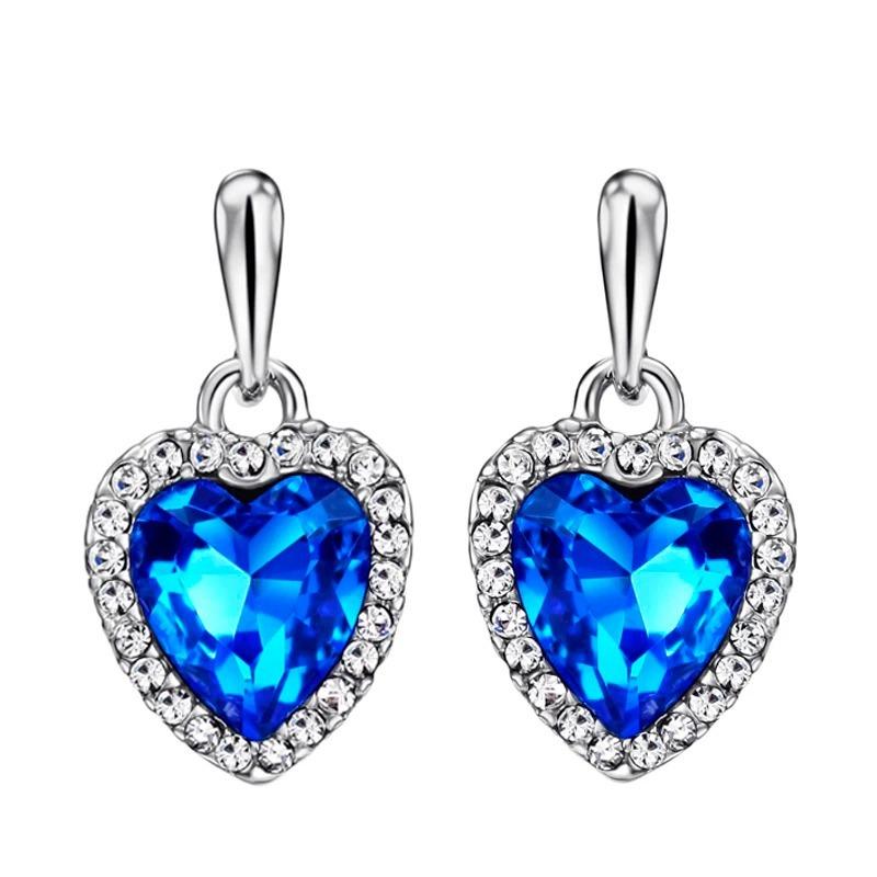 0dbf1d655bbb finos aretes corazon de swarovski azul oro blanco 14k lam. Cargando zoom.
