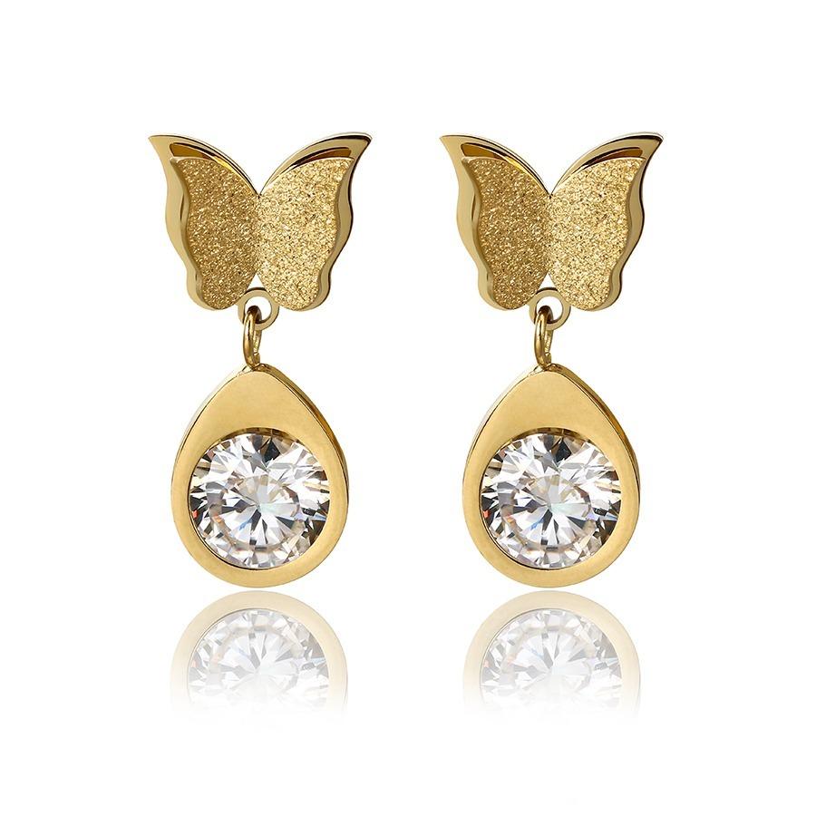 efd9706cbfc1 finos aretes mariposa de oro 14k lam con cristales swarovski. Cargando zoom.