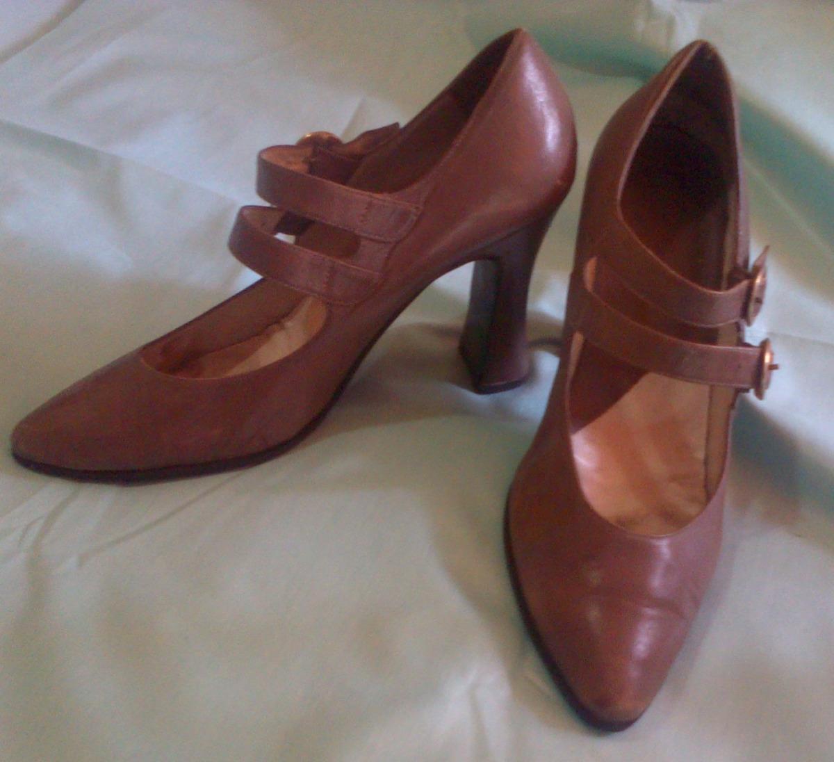 bajo precio buscar auténtico los recién llegados Finos Zapatos Altos Medio Tacon Grueso Pura Piel 35/36 Beige - Bs.  564.499,99