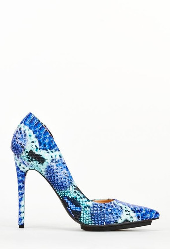 finos zapatos taco punta azul animal piel fiesta 8 38 stock