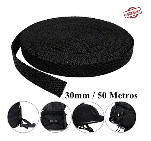 fio cinta rolo de fita 30mm preto confecção 50 metros ultra