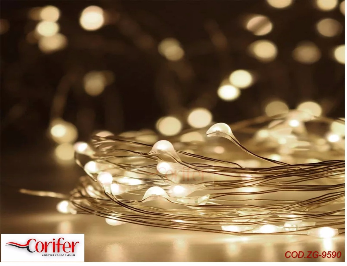 cbccaf8be Fio Cobre Prata - Cordão Luz Fada - 5m 50 Leds - Fairy Light - R  24 ...