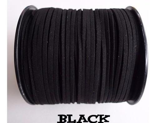 fio cordão camurça pulseira colar 2.7mm preto 7 metros