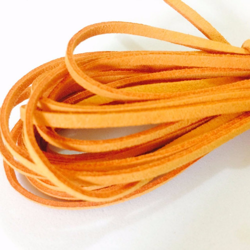 fio cordão couro tira camurça suede cor couro 3.0mm 10m