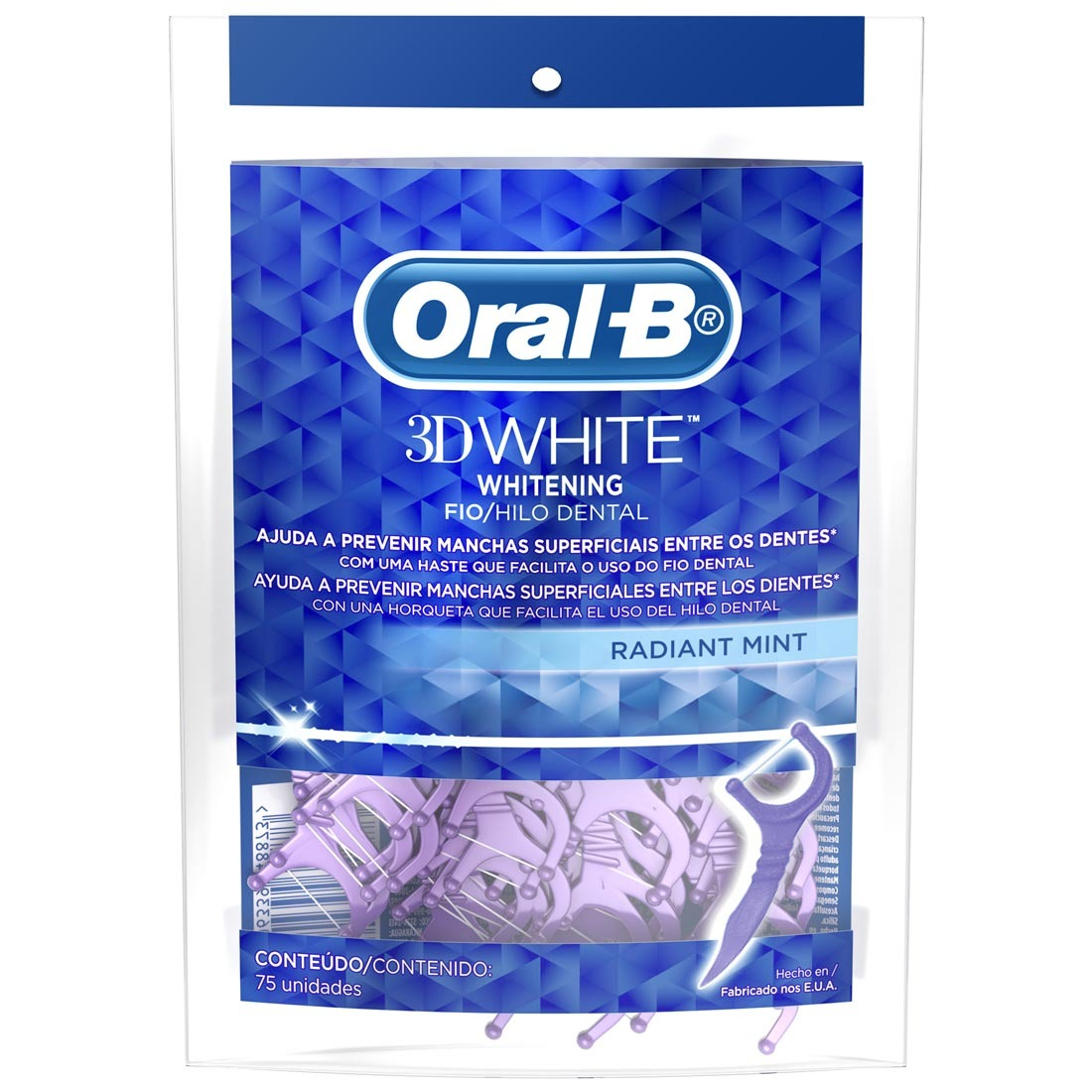 073aede1d fio dental oral-b 3d white radiant mint 75 unidades. Carregando zoom.