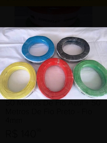 fio flexível 4mm cor azul - rolo 50 metros