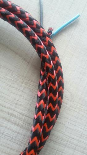 fio ou cabo elétrico 15 metros coberto com tecido, cores
