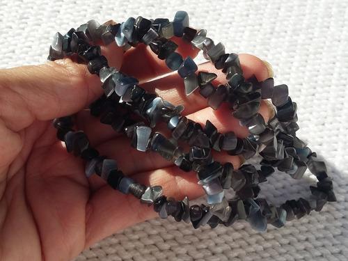 fio pedra furada olho de gato negra 80cmp/colar pulseira