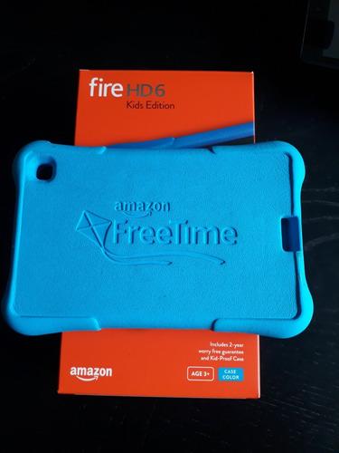fire hd 6 6  8gb black 4º ger + case kid-proof azul usado