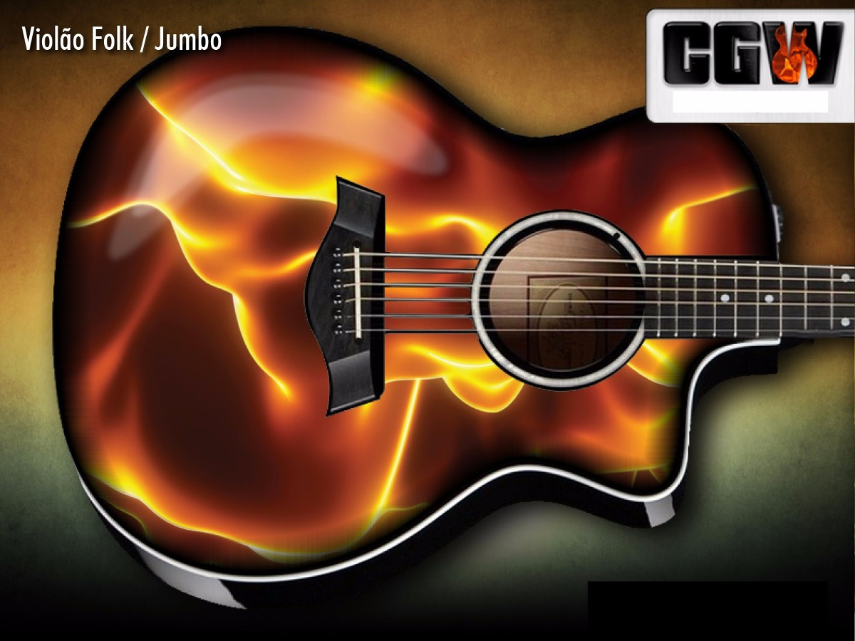 Artesanato Pernambuco ~ Fire Skin Fogo Chamas Skin Adesivo Violao Guitarra Baixo R$ 120,00 em Mercado Livre