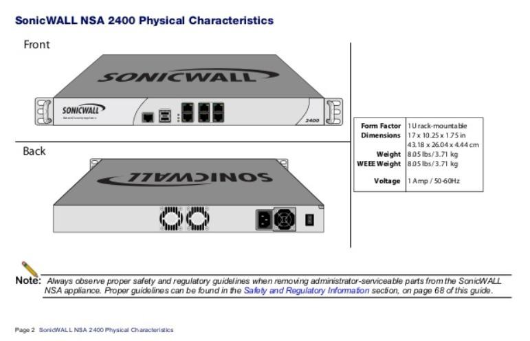 Firewall Sonicwall Nsa 2400 6x Portas 2x Wan 4x Lan Dmz