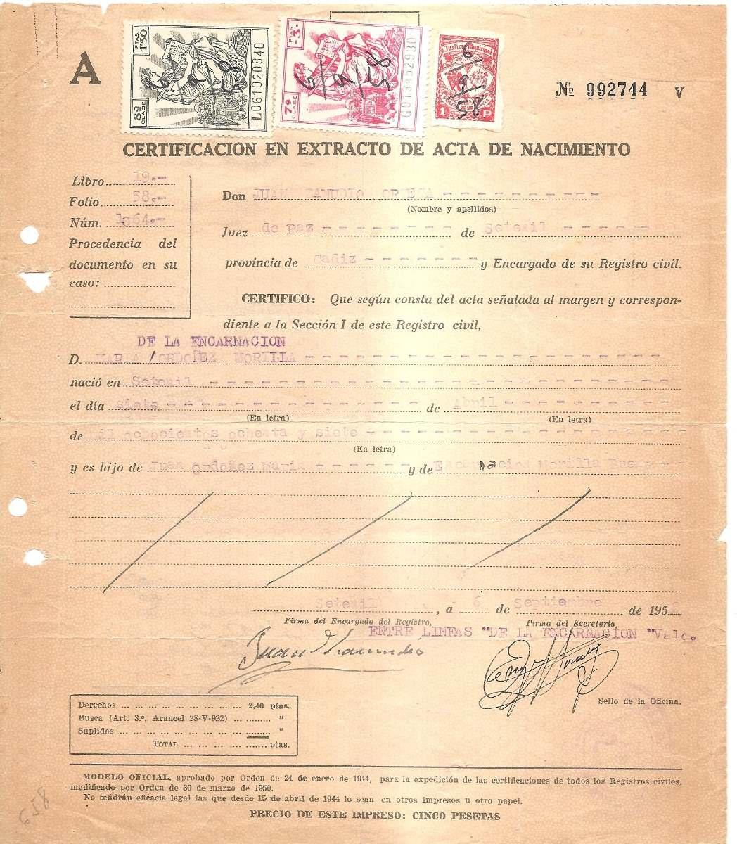 Fiscales España Partida De Nacimiento 1889 - $ 140,00 en Mercado Libre