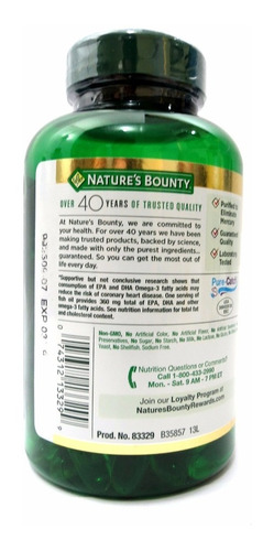fish oil nature's bounty 1200 mg + 360 mg omega 3  120 cáps.