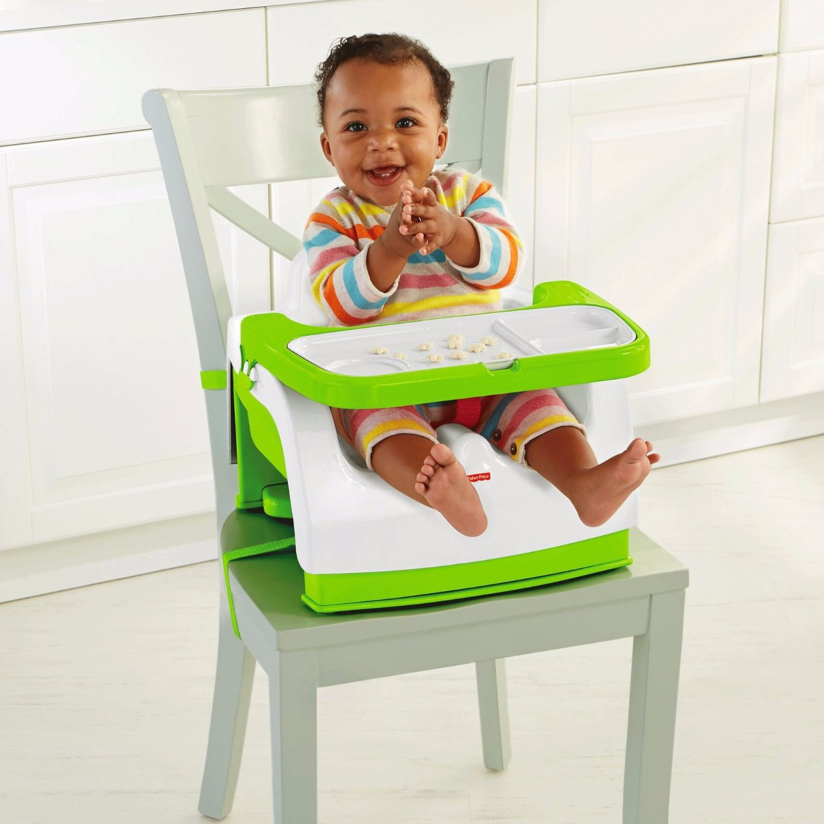 Fisher price grow with me booster green silla comedor bebe for Silla 2 en 1 fisher price