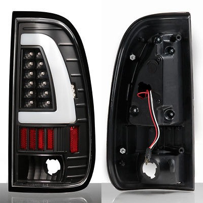 Fit 1997-03 F1501999-07 F-Series Super Duty LED Tube Style Black Taillights