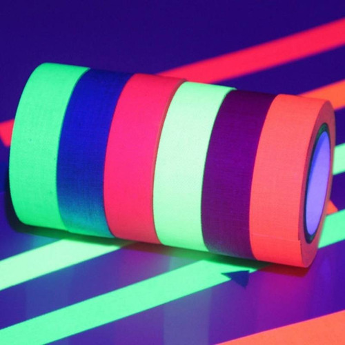 fita adesiva fluorescente festa teto brilha neon decora 5m