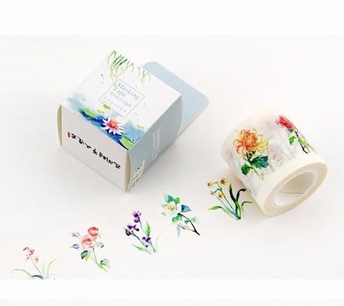 fita adesiva washi tape 10m floral romantico