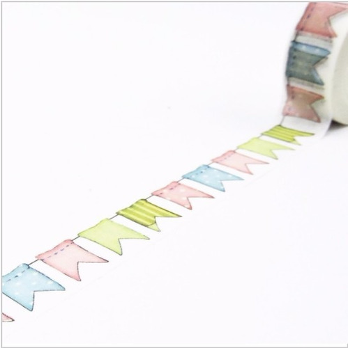 fita adesiva washi tape scrapbook bandeirolas 15mm x 10m