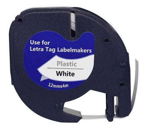 fita compatível para rotulador dymo 91201 12mm x 4m branca
